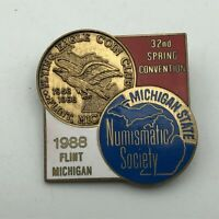 1988 Flint MI Numismatic Society State Coin Club Collecting Convention Pin N7