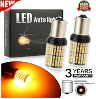 2x 1156 144SMD BAU15S PY21W LED Turn Signal Lights Bulb Canbus Amber/Yellow 12V