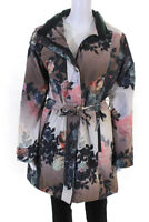 Etage Womens Long Sleeve Floral Hooded Rain Jacket Pink White Size 12