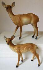 Vintage Hard Plastic Deer Figurines ~ Hong Kong ~ Set of 2 ~ Doe & Fawn