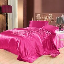 DELUXE KING SIZE BED SATIN SOFT SHEET SET FUSCHIA(Flat Fitted Pillowcase)