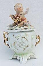 Antique Angel Cherubs Flowers Putti Footed Figural Dresser Box Lidded Jar #3981