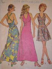 S-5037 1970s Halter Dress Sewing Pattern Simplicity Size 5 Bust 31 Complete