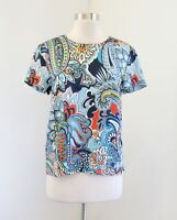 J Crew Blue Multi Color Moonglow Paisley Print Silk Tee T-Shirt Blouse Size 00