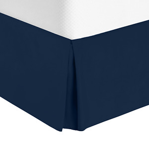 "Luxury Pleated Tailored Bed Skirt - 14"" Drop Dust Ruffle, Full XL - Navy Blue"