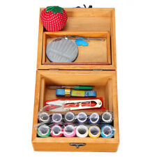 Wooden Basket Sewing Box Gift Set with Sewing Tool Kit Accessories Storage Case