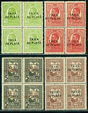 1918 King Carol,Queen weaving,POSTAL TAX,DUE,TAXA DE PLATA,TIMBRU AJUTOR,MNH,x4