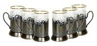 Set of 6 Russian Tea Glass Holders Podstakannik w/ 24K Gold Trim Crystal Glasses