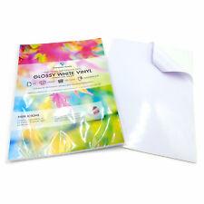 A4 White VINYL LASER Printable GLOSSY Self Adhesive Waterproof Sticker Sheet