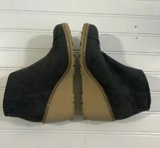 New TOMS Avery Bootie Tan Platform Wedge Boot Grey Suede Womens Size 6 Side Zip