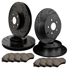 [FRONT & REAR] 4 DOUBLE DRILLED & SLOTTED BRAKE ROTORS +8 CERAMIC PADS ATL053557