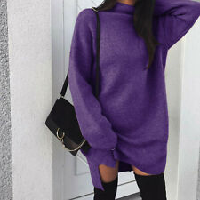 Women Casual Winter Turtleneck Long Sleeve Mini Dress Plus Solid Sweater DressCA