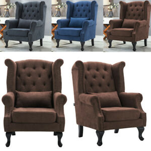 WING BACK LEATHER/FABRIC CHAIR STUDS BUTTON FIRESIDE OCCASIONAL ARMCHAIR SOFA UK