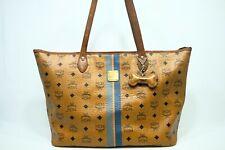 100% Authentic MCM Cognac Visetos Trim Shopper Shoulder Bag with DOGBONE CHARM