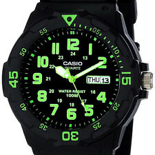 Casio MRW-200H-3BV Analog Watch Green Black 100M WR Day and Date Neo Display New