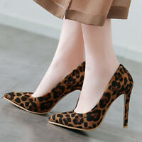 Women's Leopard Slip On Pointed Toe High Heel Stilettos Party Club Wedding Pumps