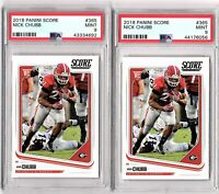 Lot of Two, 2018 PANINI SCORE #365 NICK CHUBB ROOKIES BOTH PSA MINT 9