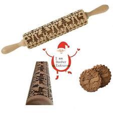 Embossed Wooden Rolling Pin Engraved Elk Snowflake Baking L4C4 Christmas R6N5