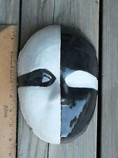 Handmade Ceramic Clay Art Mask Sculpture Pottery ~ Black & White Face