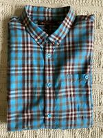 Ben Sherman size L Blue Check Short Sleeve Button Collar Shirt Canclini Italy