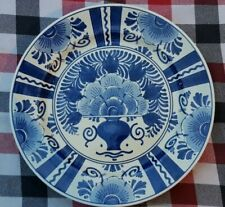 """Dutch Delft Blue White Flower Wall Plate  Charger 9"""" (23 cm) Signed"""
