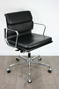 UK & EU Delivery | Vitra Eames Soft Pad Chairs | EA 217 | Black Leather | Chrome