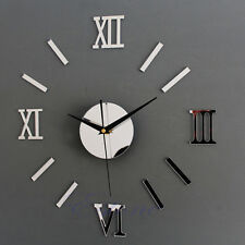 DIY Modern Home Interior Wall Clock Large Wall Clock 3D Sticker Mirror Effect