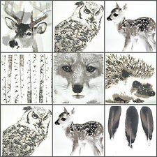 Woodland animal panels, fox owl stag deer hedgehog, cotton fabric