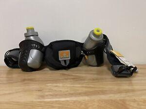 Nathan Trail Mix Hydration Belt Black/Grey 2 Water Bottles Adjustable Belt