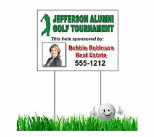 "18 Custom jumbo 18 X 24"" golf tournament sponsor signs with stakes - Full color"