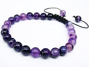Men's Beaded Macrame Bracelet all 8mm Purple lace AGATE gemstone natural beads
