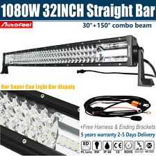 8D Triple Row 1080W OSRAM 32Inch Combo LED Light Bar Flood Spot Driving 30/34''