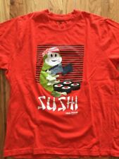 NEW RARE 2010 Paul Frank SUSHI Chef Graphic Print Tee Mens T-Shirt Orange/Red
