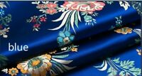 Vintage Chinese Satin Floral Fabric Begonia Damask Brocade Sew Bag Clothes Craft