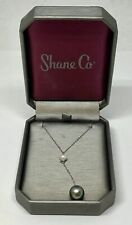 Shane Co Sterling Silver Tahitian & Freshwater Pearl Necklace w/ Box & Appraisal