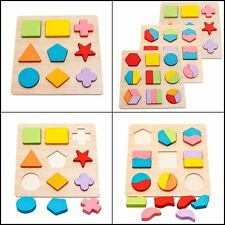 Wooden Geometric Chunky Puzzles Development Educational Toy Set For Toddlers X3