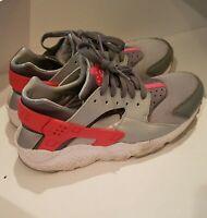 Nike Womens Huarache Lace Up Running Sneaker Gray/Orange Size 7