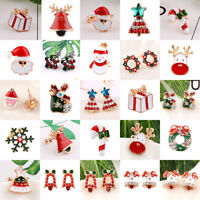 Fashion Rhinestone Christmas Tree Snowflake Deer Earrings Ear Stud Women Jewelry