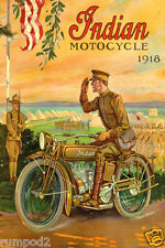 1918 Motorcycle  Poster - Indian Moto Cycle Poster - Vintage Style Bike Poster