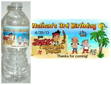 20 JAKE AND THE NEVERLAND PIRATES BIRTHDAY PARTY FAVORS WATER BOTTLE LABELS