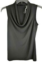 New York & Company Womens Black Cowl Neck Dressy Sleeveless Tank Blouse XS