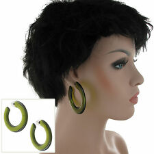 Pierced Earrings Hoop Big Bold Statement Wide Flat Clear Lucite Green 2 1/4""