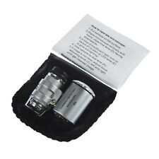 Mini 60X Pocket Jewelry Loupe Lighted Magnifier Microscope with LED Currency UV