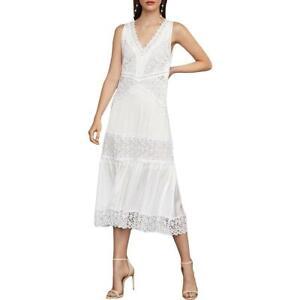 BCBG Max Azria Satin Lace Trim Sleeveless V-Neck Midi Shift Dress