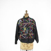 Vintage Guatemala Folk Art Black Cotton Embroidered Zipper Front Jacket One Size
