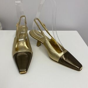 Gucci Leather Tiger Head Shoes Sling Backs Gold & Bronze Tom Ford Design 6 1/2 B
