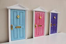Blue Elf Door wooden handpainted miniature tooth fairy great gift idea magical