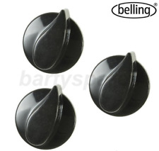 3 x Genuine BELLING Solitaire Country Chef Oven Cooker Hob Black Control Knob