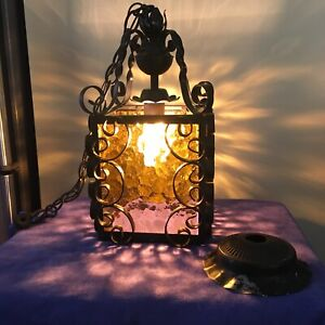 Antique Wrought Iron Hanging light Spanish Gothic style w/ amber glass, vintage.