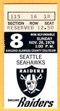 11/26/78 RAIDERS/SEAHAWKS FOOTBALL TICKET STUB